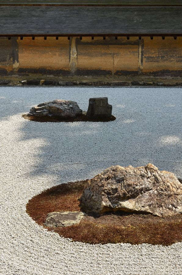Three of the most famous stones in the world, Ryoan-ji Zen temple, Kyoto, Japan