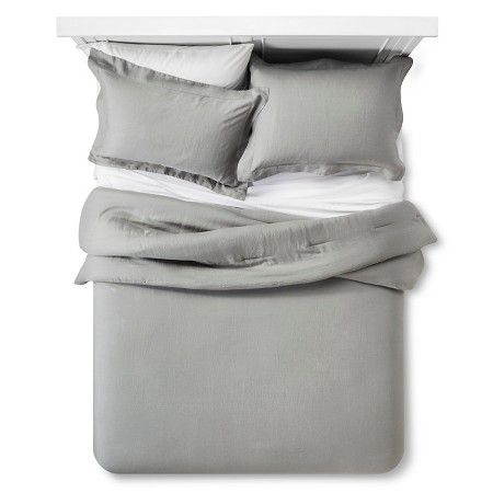 Linen Comforter & Sham Set (Full/Queen) Gray 3pc - Fieldcrest™ : Target