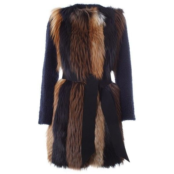 BLANCHA Shearling and red fox coat ($1,522) ❤ liked on Polyvore featuring outerwear, coats, jackets, coats & jackets, fur, blue, black coat, sheep fur coat, blue fox coat and red coat