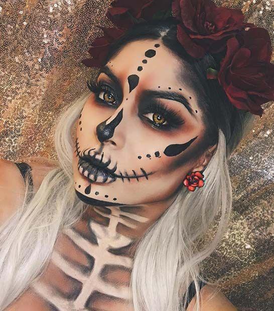 ► Make-up für Halloween → 50 Ideen – Catrina – Ein bisschen Blumen und Make-up …