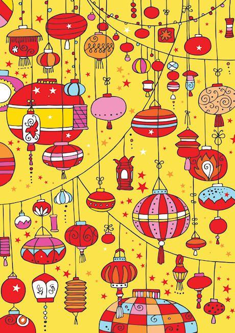 FREE printable Chinese lanterns scrapbook paper