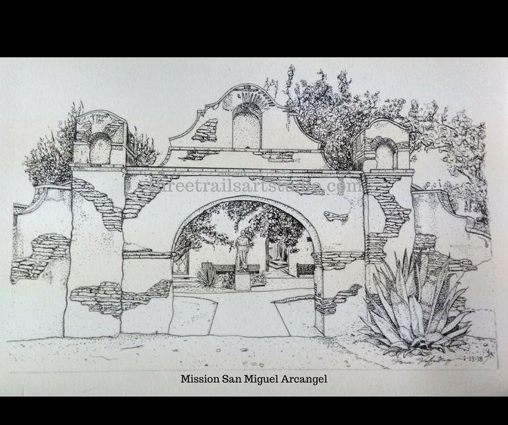 $39.47 Mission San Miguel Arcangel, original pen and ink by Karen Kaffenberger see more at threetrailsartstudio.com