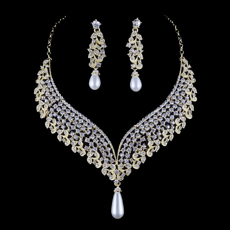Lux Accessories Silver Tone Rhinestone Faux Pearl Ball Pattern Jewelry Set 3PC BoTZzR