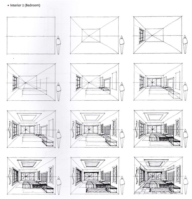 how to draw a 2 point persepctive room