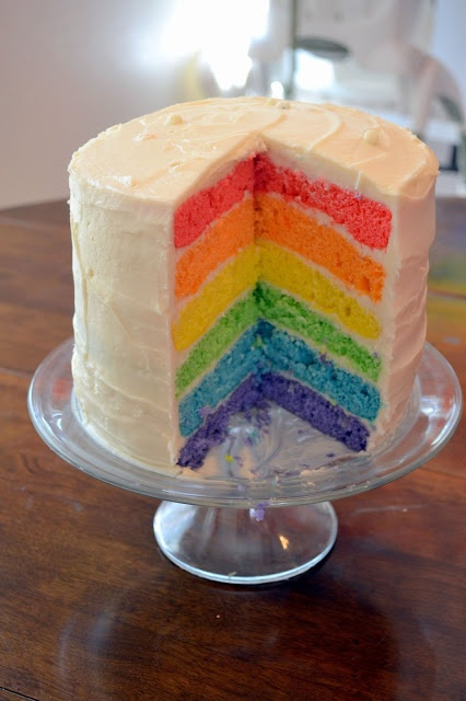 Wrap rainbow color ribbons around plain white cake. Bunting (rainbow pennant) or rainbow sour punch on top.