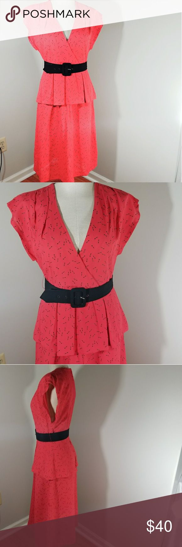 """VINTAGE Red Peplum Dress Red peplum dress by young Edwardian. Go by measurements for best fit.  Measured flat armpit to armpit bust measures 17"""" waist measured flat 13.5"""" dress is 43"""" in length Vintage Dresses"""