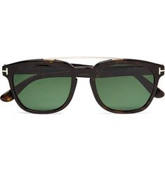 TOM FORD - Holt Square-Frame Acetate and Rose Gold-Tone Polarised Sunglasses