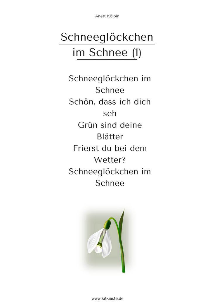 """""""Schneeglöckchen im Schnee"""" - 3 Strophen - auch als Lied - mehr: www.kitakiste.jimdo.com"""