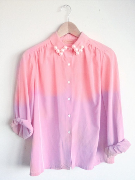 shirt, pearl, pink, purple, tie dye, dip dyed | Wheretoget.it: Pastel, Pearl, Fashion, Dye, Style, Dream Closet, Color, Shirts