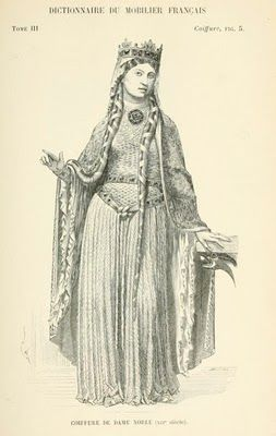 12th-century hairstyle and bliaut. Note Carolingian wrapped (not braided) hair.