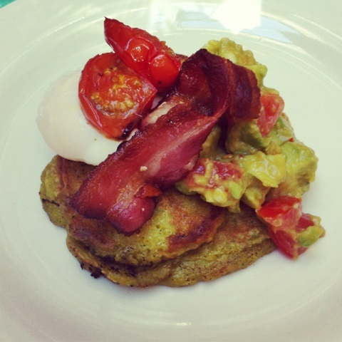 Homemade Sunday Brunch- Granger inspired corn fritters with avocado salsa, roast tomatoes, bacon and poached eggs