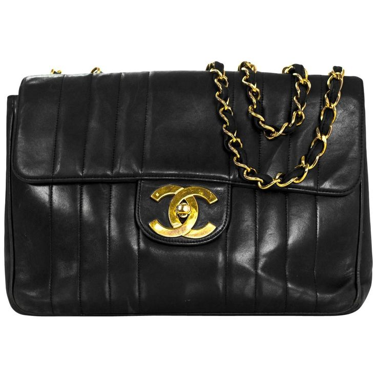 Chanel '90 Vintage Black Lambskin Vertical Quilted CC Jumbo Flap Bag