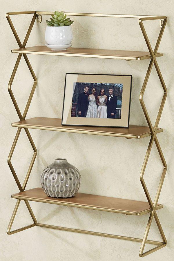 Jamie Gold Modern Wall Display Shelf In 2020 Shelves Wall Shelf Display Display Shelves