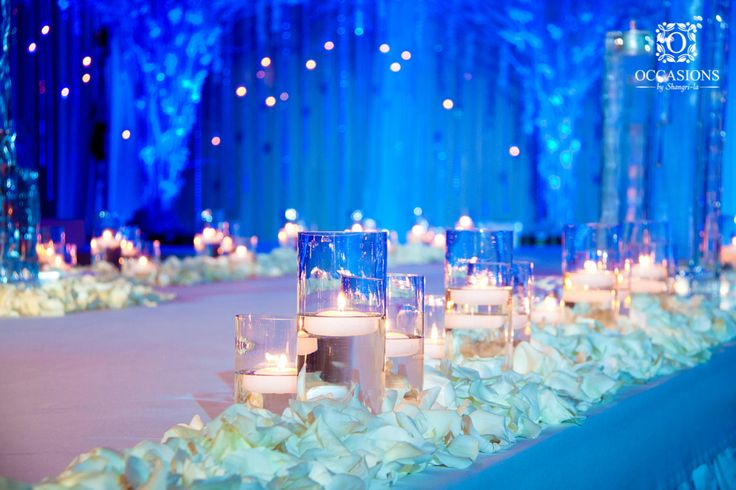 Winter Wonderland with textured lighting and cascading orchids