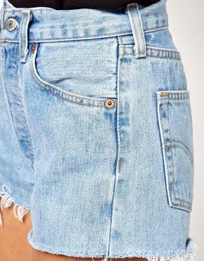 Imagen 3 de Pantalones cortos vaqueros en color azul claro Levi's 501 de ASOS Reclaimed Vintage