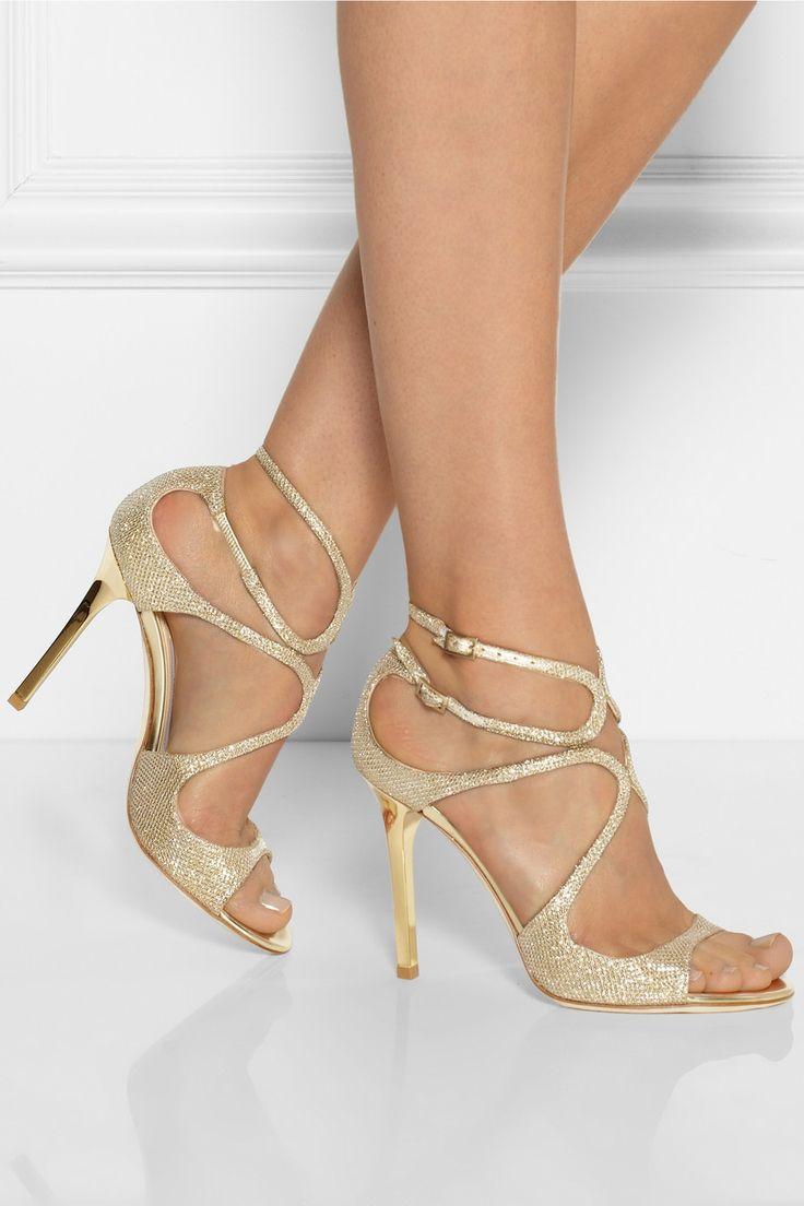 Jimmy Choo   textura sandalias de lamé Lang   NET-A-PORTER.COM