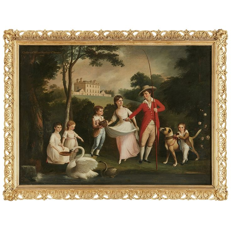 ALEXANDER NASMYTH (SCOTTISH 1758-1840)   THE CHILDREN OF WILLIAM RAMSAY OF BARNTON  Inscribed, and with the children's names and dated 1782, oil on canvas  91cm x 122cm (36in x 48in)