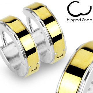 Midas Touch - Hinged Hoop Style Silver Anodized Gold Center Stainless Steel Earrings. #GoldenCollection #HingedHoopEarrings  #Golden #Silver #StainlessSteel