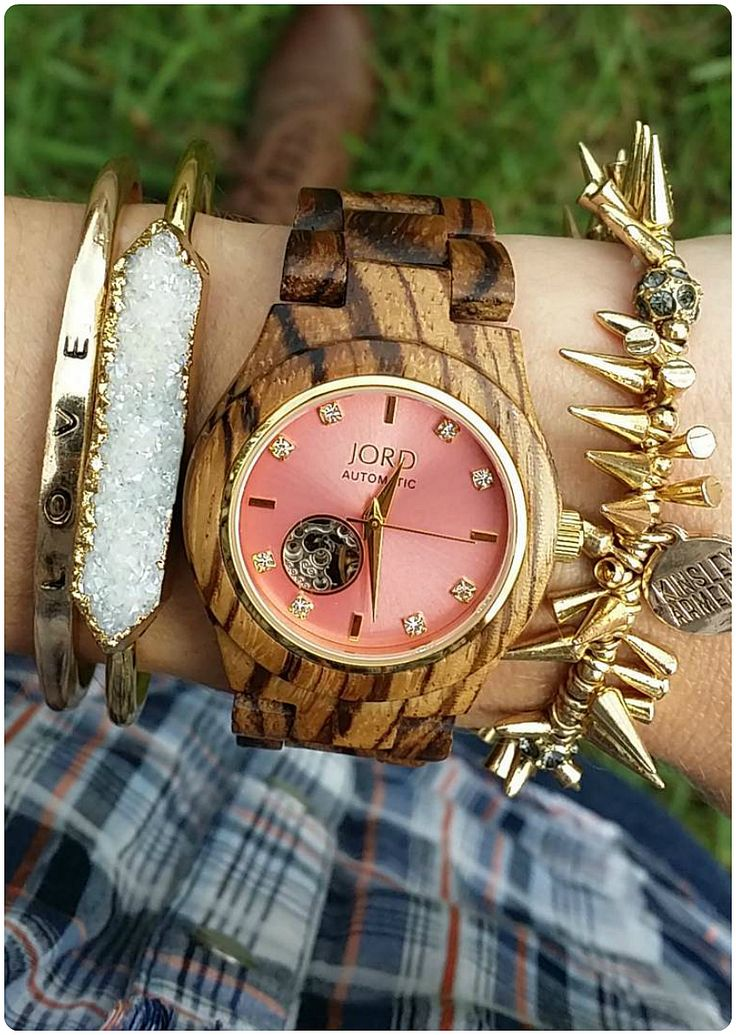 A well adorned wrist is hard to miss.   Photo from @newdawnboutique of IG   Find her watch, the Cora women's automatic, at woodwatches.com - free shipping worldwide!