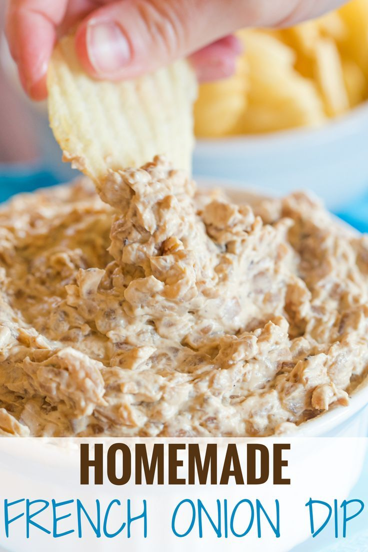 This homemade French onion dip recipe features deeply caramelized onions, balsamic vinegar, sour cream and mayonnaise. Easy and SO delicious! | browneyedbaker.com