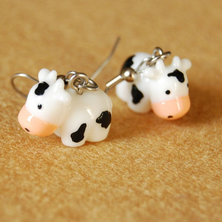 moo cow earrings by alliteration on Etsy