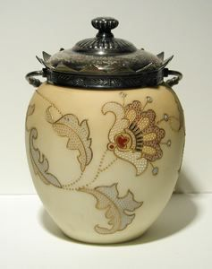 """Currier Collections Online - """"Royal Flemish Covered Biscuit or Cookie Jar"""" by Mount Washington Glass Company"""