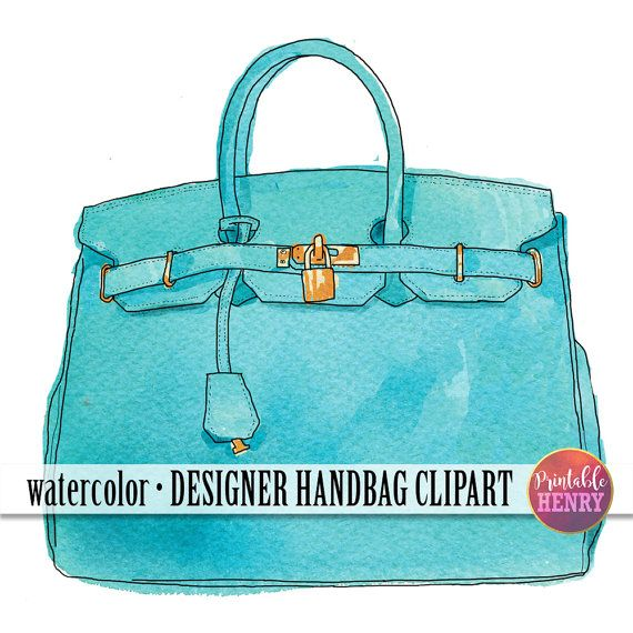 Watercolor, Hermes Birkin bag clipart. Designer purse clip art illustrations on Etsy. Click to see more, or Pin for later.