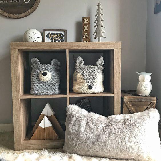 Grey Fox Korb, Wolf Korb, häkeln Fuchs Kinderzimmer Dekor, Wald Kinderzimmer Camping Raumdekor