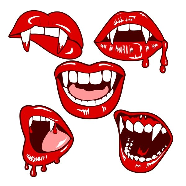 Vampire Mouth Cuttable Design Cut File. Vector, Clipart, Digital Scrapbooking Download, Available in JPEG, PDF, EPS, DXF and SVG. Works with Cricut, Design Space, Cuts A Lot, Make the Cut!, Inkscape, CorelDraw, Adobe Illustrator, Silhouette Cameo, Brother ScanNCut and other software.