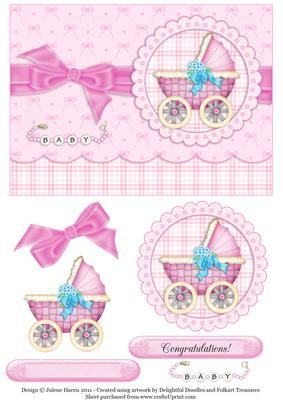 Baby Buggy in Pink Decoupage Card on Craftsuprint designed by Julene Harris - A very sweet card for the parents of a new baby girl. Please click on my name to view more of my designs. - Now available for download!