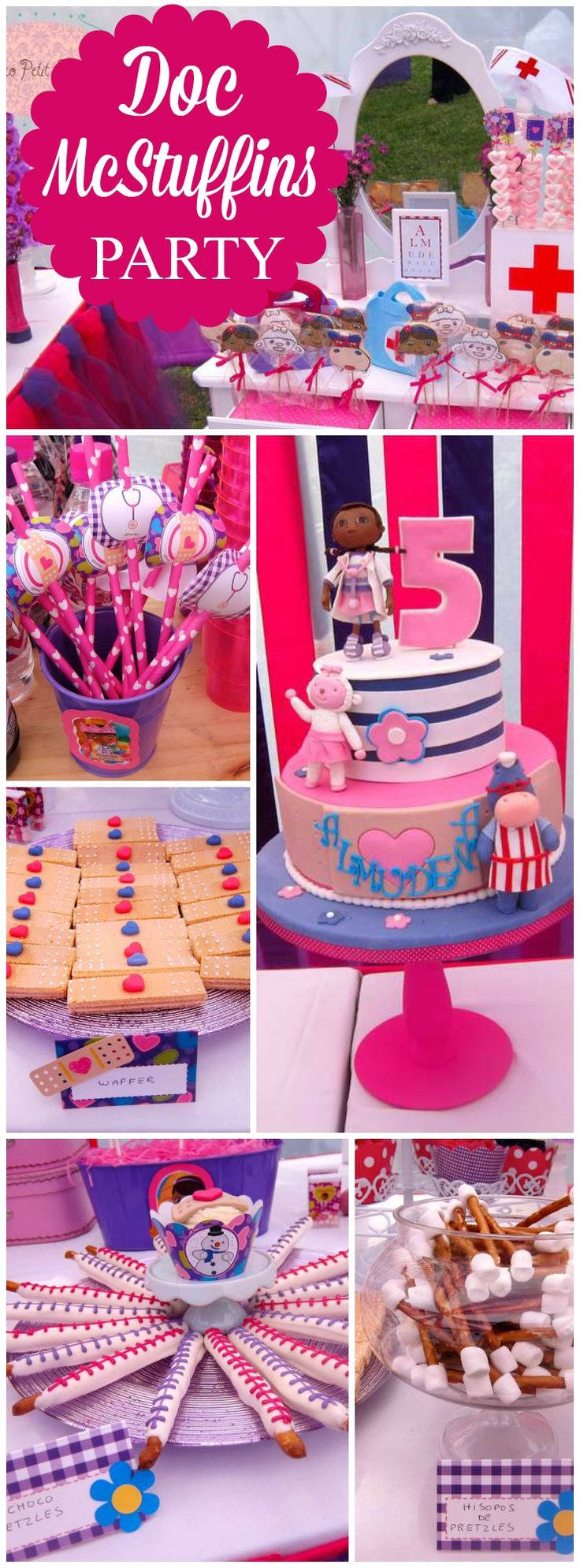 Love this pink and purple Doc McStuffins birthday party! See more party ideas at CatchMyParty.com!