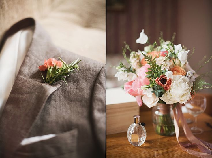 Wedding bouque and boutonniere by http://www.mchyipaprocie.pl/