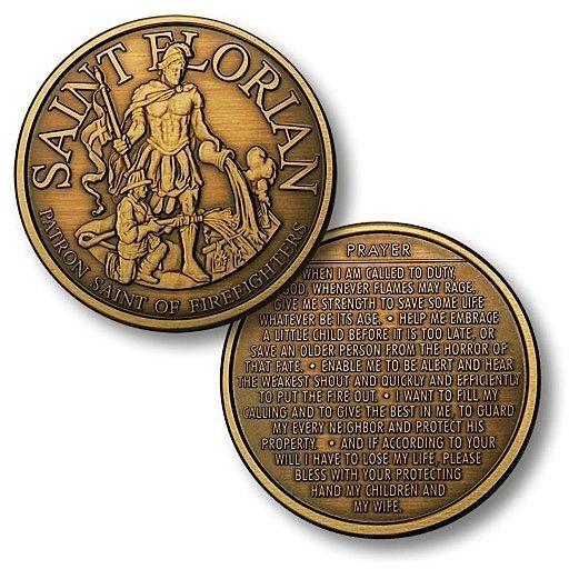 Saint Florian - Fireman Prayer Bronze Antique Coin