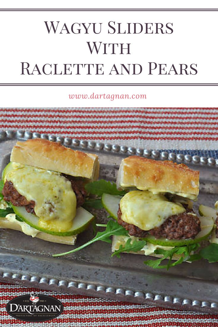 Raclette is a mild, creamy cow's milk cheese from Switzerland that's often melted and served with meats, potatoes, and fruit. People are so mad about the molten cheese, there are whole restaurants devoted to it. Here we pair our ground wagyu with pears, arugula, and Raclette in a bite-sized burger that's perfect for parties.