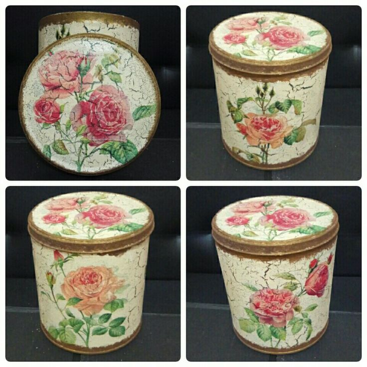 Découpage on biscuit can, with crackle paint technique