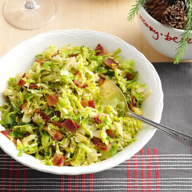 Brussels Sprouts with Bacon & Garlic Recipe -When we have company, these sprouts are my go-to side dish because they look and taste fantastic. Fancy them up a notch with pancetta instead of bacon. —Mandy Rivers, Lexington, South Carolina