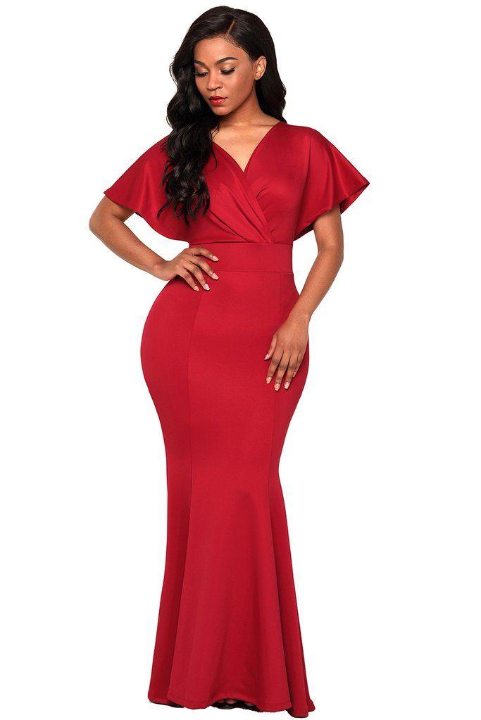 f3b88d654c6 Red Off The Shoulder Mermaid Maxi Dress in 2019