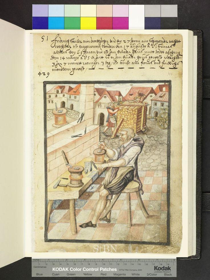 """Amb. 317b.2 ° Folio 44 recto """"der bruder sitzt an seinem arbeitstisch und schwingt …"""