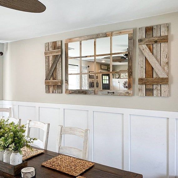 46x 36 Farmhouse Wall Decor Window Mirror Rustic Etsy In 2021 Farmhouse Mirrors Dining Room Wall Decor Window Pane Mirror