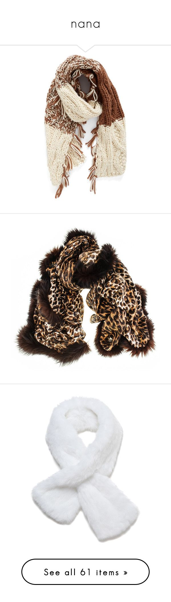 """""""nana"""" by nanawidia ❤ liked on Polyvore featuring accessories, scarves, brown combo, cable knit scarves, striped shawl, brown scarves, striped scarves, brown shawl, woven scarves and leopard scarves"""