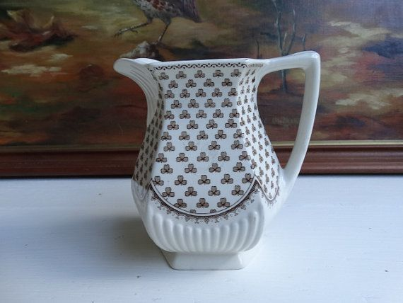 Wm.Adams & Sons Sharon Pattern Large Cream Pitcher in Brown Transferware. Made in England.