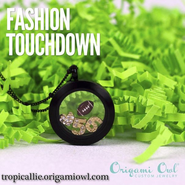 Origami Owl Football Locket - Great way to support your team!  Pick your kid's number! Visit my site tropicallie.origamiowl.com to create your own custom locket!