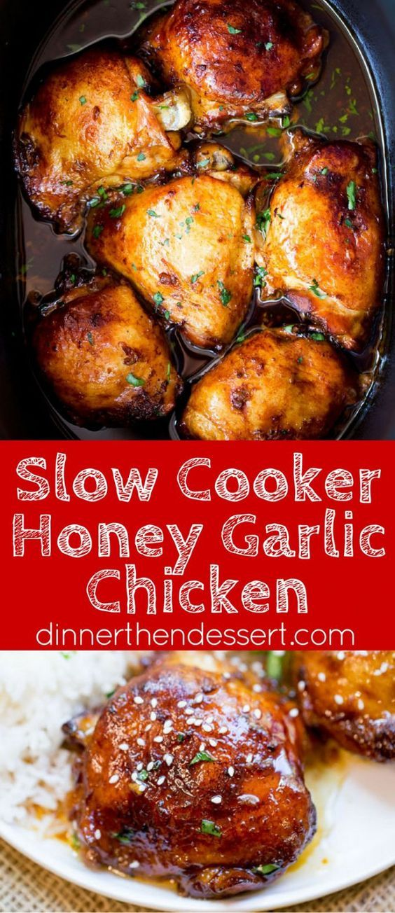 Slow Cooker Honey Garlic Chicken is the perfect weeknight meal with just five…