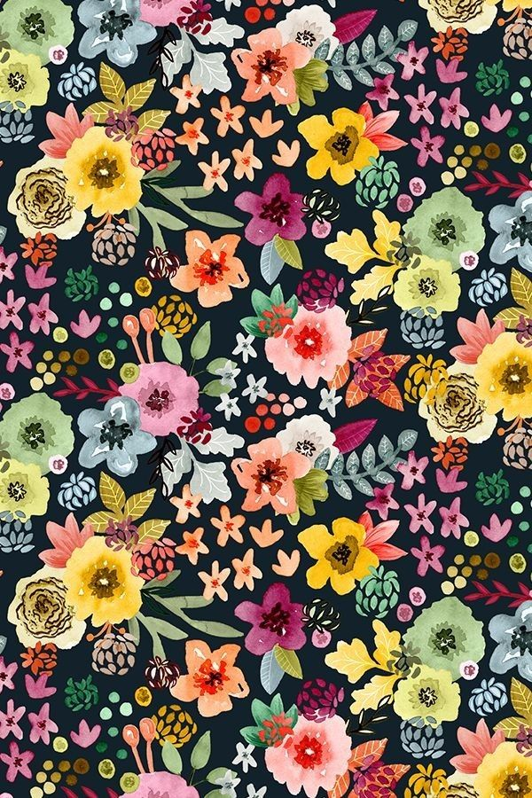 Bright floral pattern on black. No link. (With images