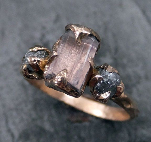 Cute Raw Pink Tourmaline Diamond k Rose Gold Engagement Ring Wedding Ring One Of a Kind Gemstone