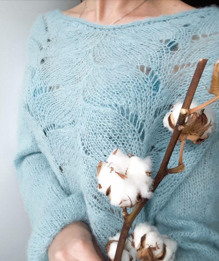 blue alpaca Sweaters for women blue mint alpaca pullover синий  голубой мятный ажурный нежный свитер пулловер из альпаки с ажурным узором