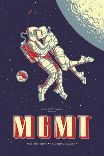 MGMT gig poster by Craig Updegrove  #space #universe #across #explore #galaxy #moon #astronaut #cosmonaut  #espaço #universo #exploração #galáxias #mundos #lua #astronauta #cosmonauta #spaceman