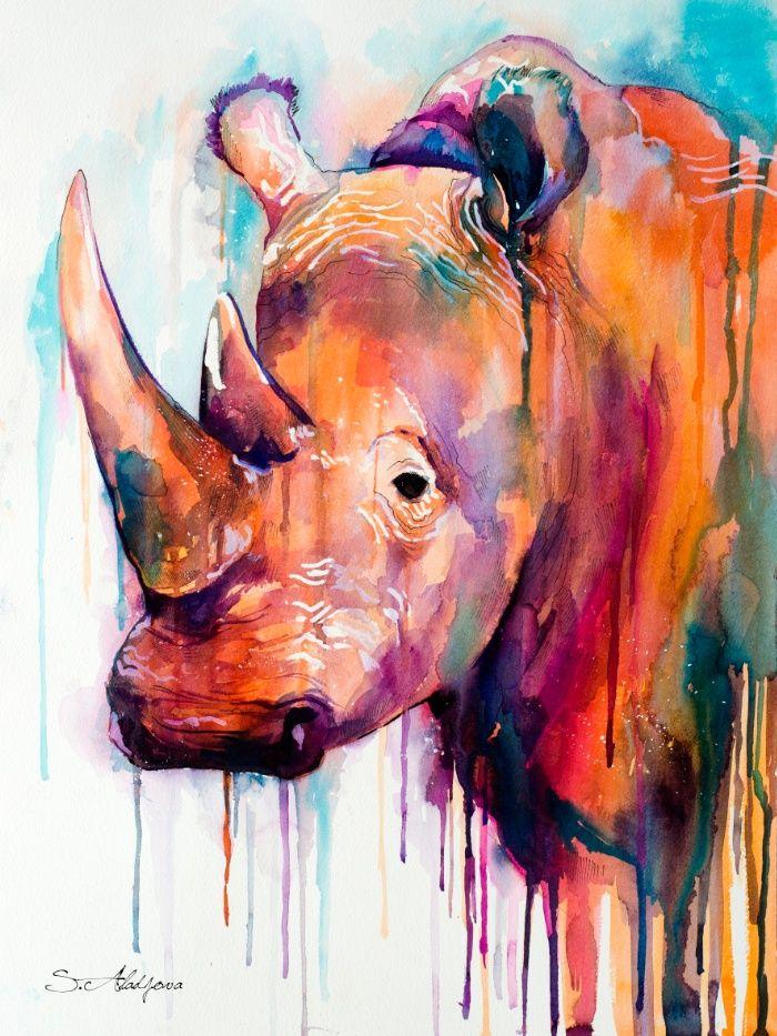 Rhino Art Print by Slaveika Aladjova
