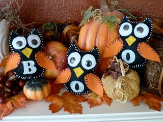 DIY Halloween Fabric Owls.. Adorable!  #Halloween#Owls#Party#Decorations