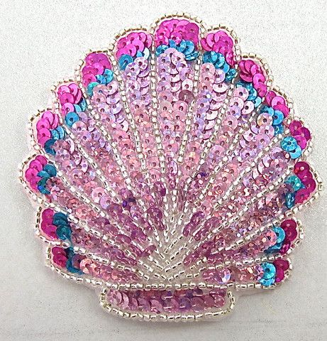 "Seashell with Lazer Multi-Colored Pinks Sequins and Silver Beads 3.25"" x 3"""